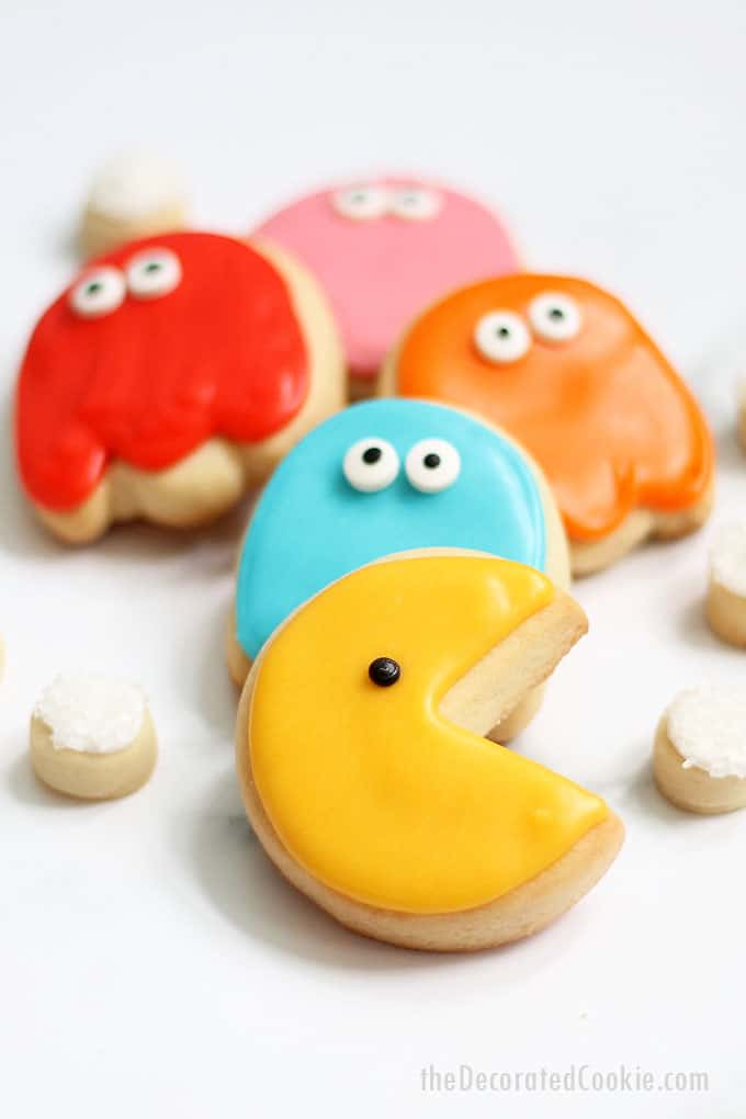 pac man cookies with white background