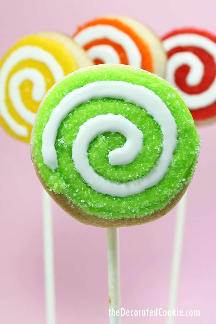 rainbow swirl sugar cookies on a stick