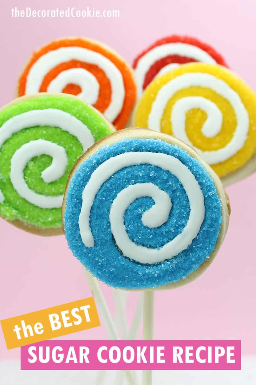 rainbow swirl cookies on a stick