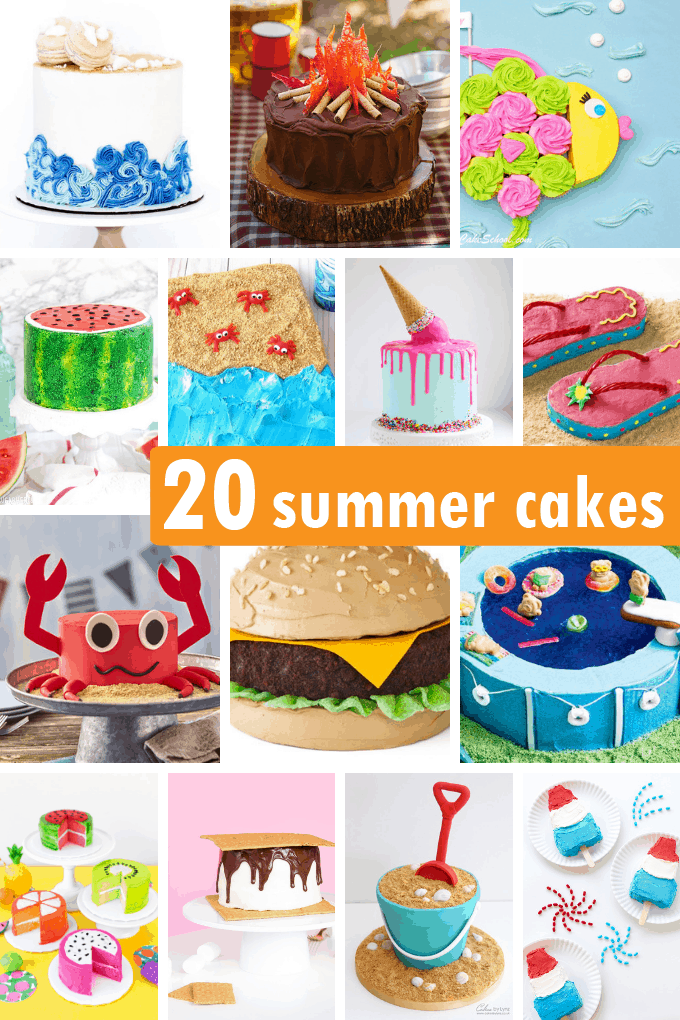 a collage of fun summer cakes