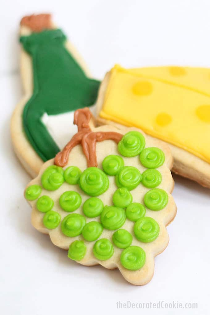 How to decorate WINE AND CHEESE COOKIES with royal icing, a fun treat for a wine tasting party or for a wine gift basket for a host.