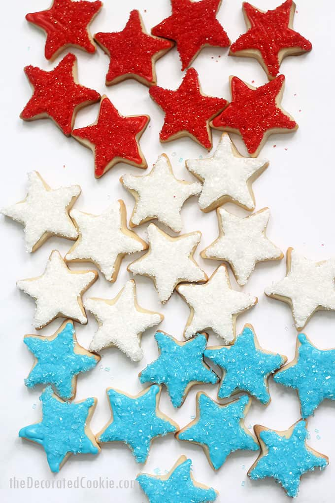 4th of July star cookies in rows of red, white, and blue