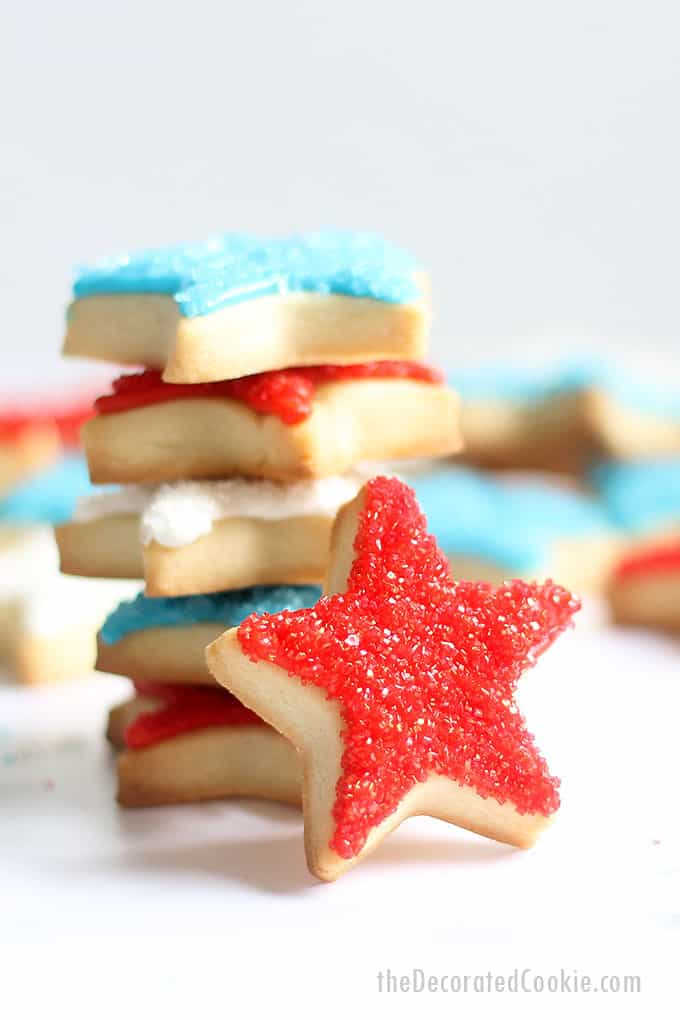 stacked 4th of July star cookies