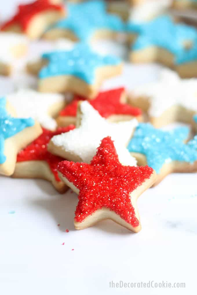 scattered 4th of July star cookies