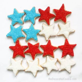 4th of July star cookies arranged as American flag