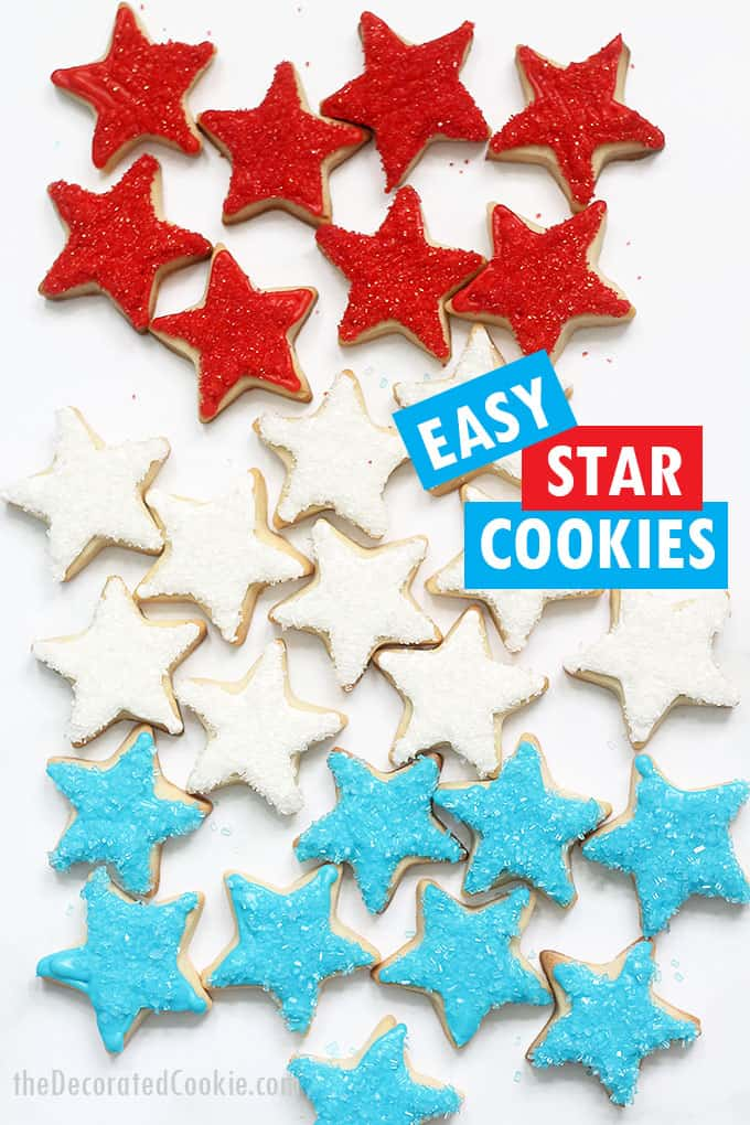 red, white, and blue star cookies
