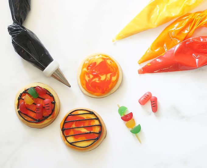 overhead image decorating BBQ grill summer cookies