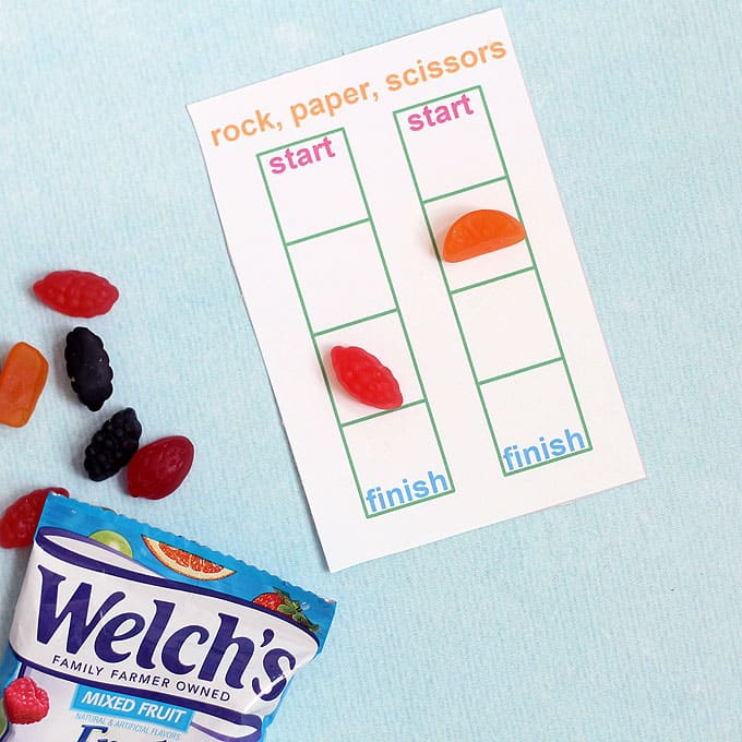 overhead view of school lunch ideas free games printable -- rock, paper, scissors