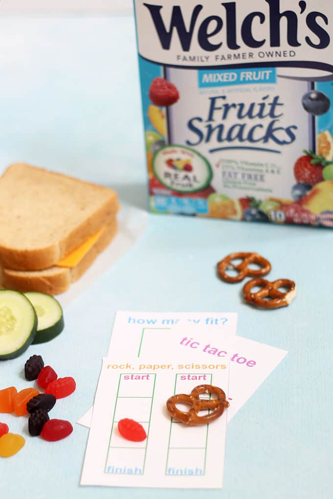 Welch's fruit snacks box with school lunch and games