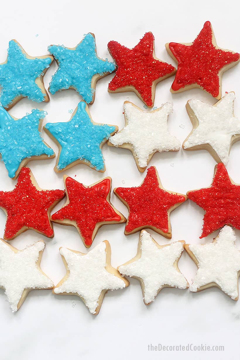 red, white, and blue star cookies with sprinkles for the 4th of July