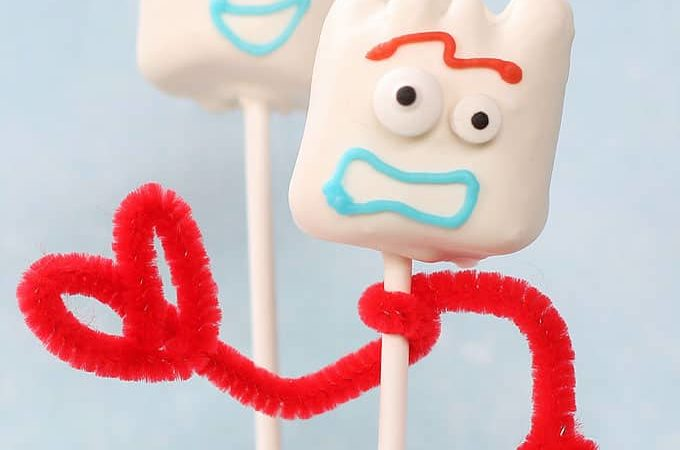 close up view of Forky Toy Story marshmallows
