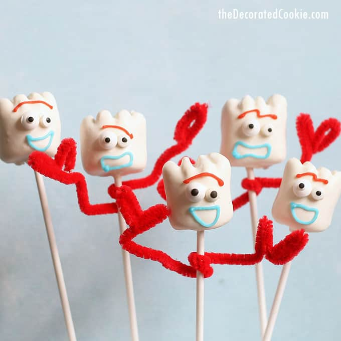 view of 5 Forky Toy Story marshmallows