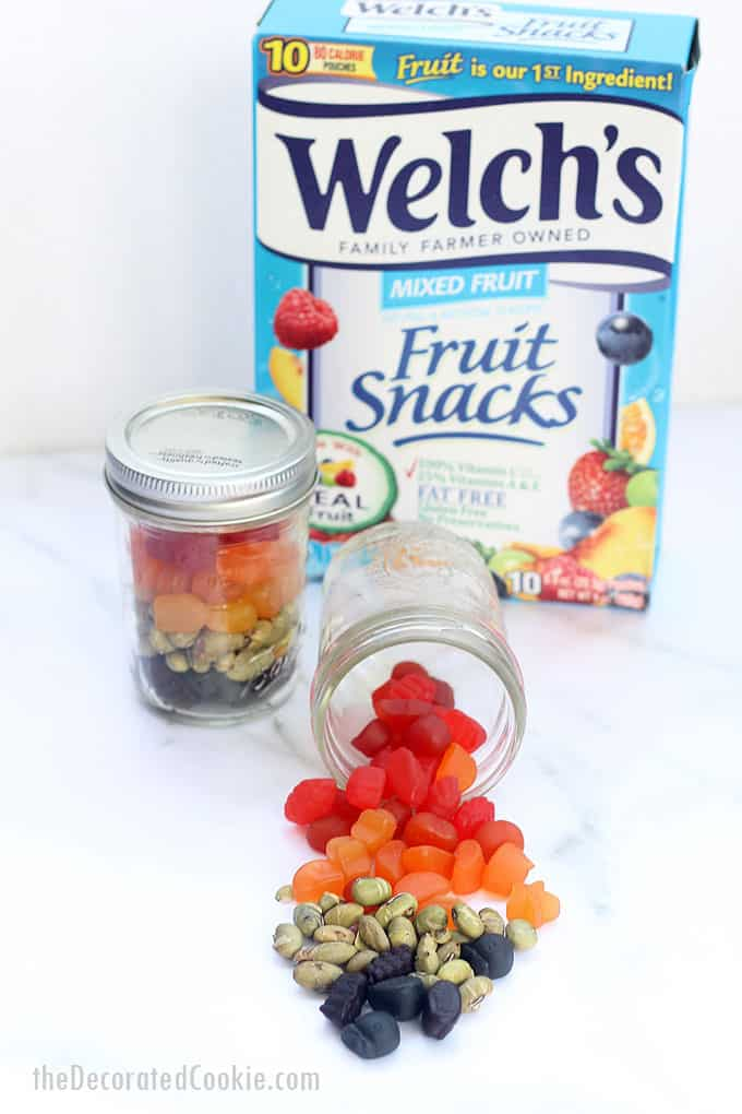 jars of view of rainbow snack mix mason jars with Welch's Fruit Snack box