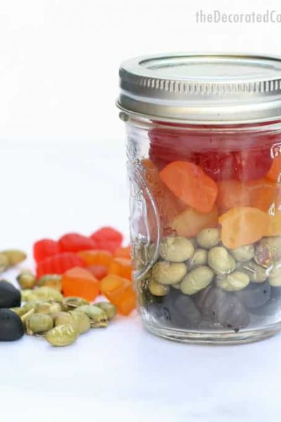 mason jar with view of rainbow snack and welch's fruit snack