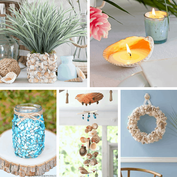 collage of seashell crafts