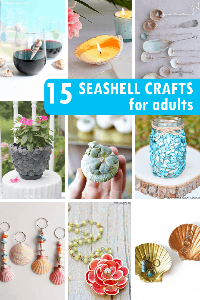 collage of seashell crafts for adults