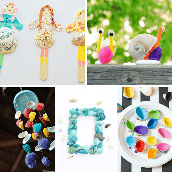 collage of seashell crafts for kids