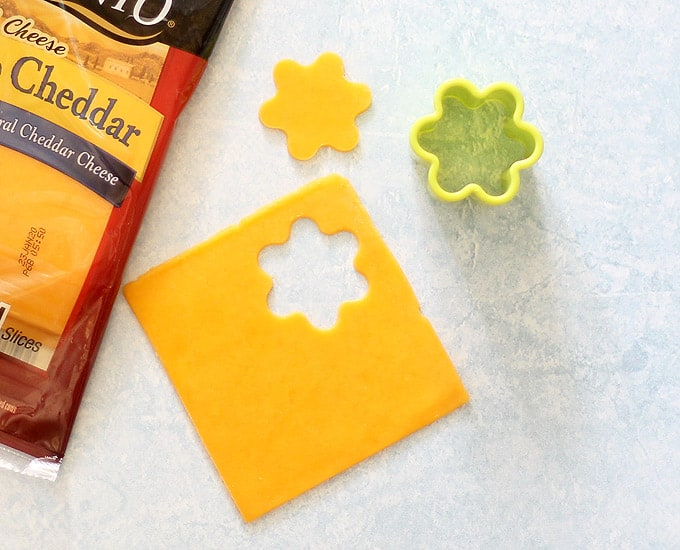 flower cutter with cheddar cheese slice