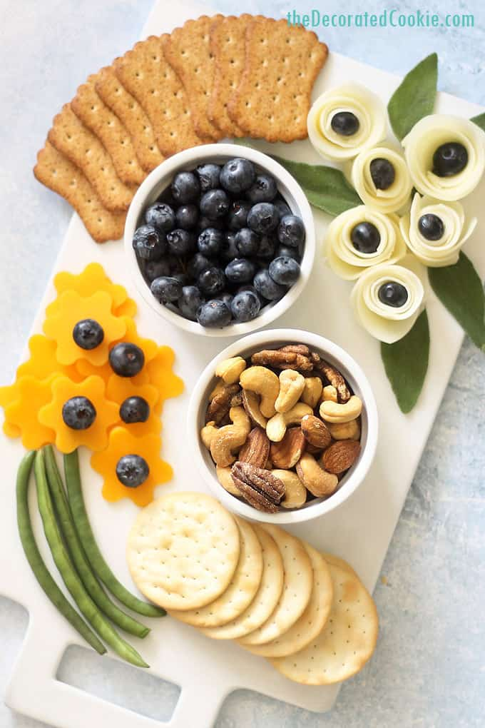 flower themed cheese board overhead image