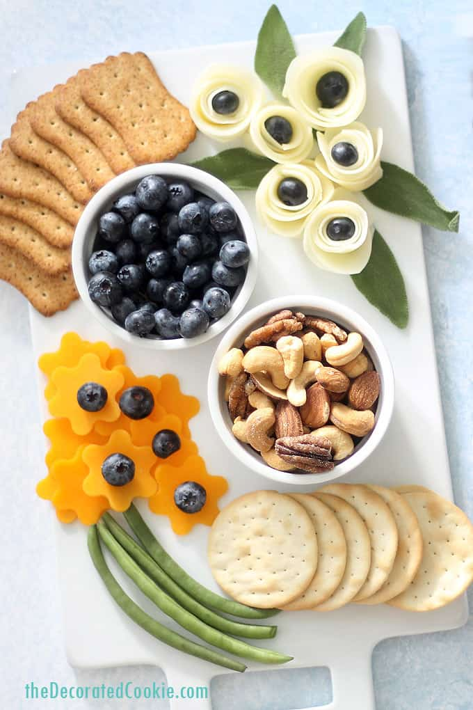flower-themed cheese board overhead image