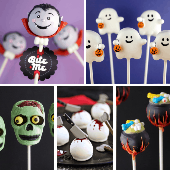 15 HALLOWEEN CAKE POPS -- A roundup of 15 awesome Halloween cake pop ideas for your party, with links to full tutorials. Fun Halloween treats!