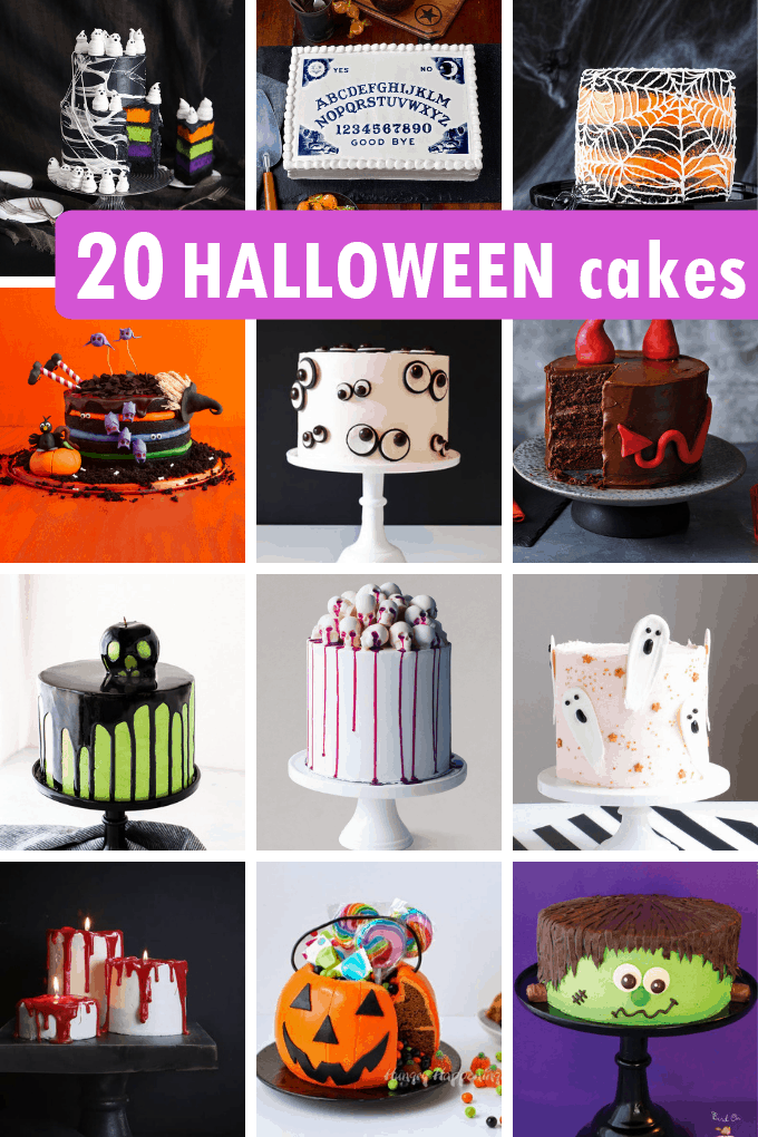 A roundup of 20 HALLOWEEN CAKES-- Awesome, spooky, clever Halloween cake ideas for your Halloween party. Ghosts, monsters, and more.