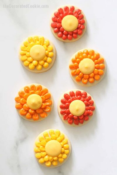 overhead image of piped flower cookies for fall