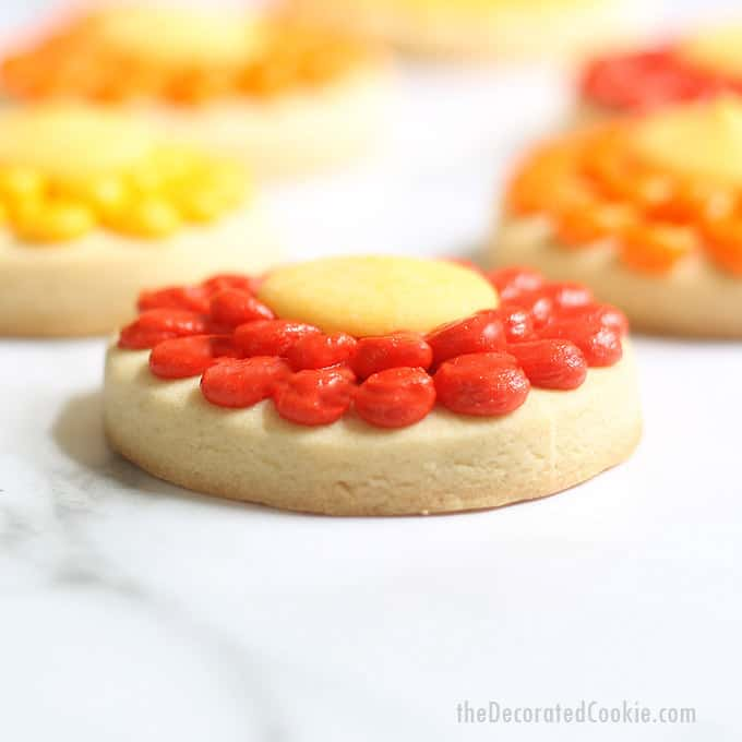 side view of piped flower cookies for fall