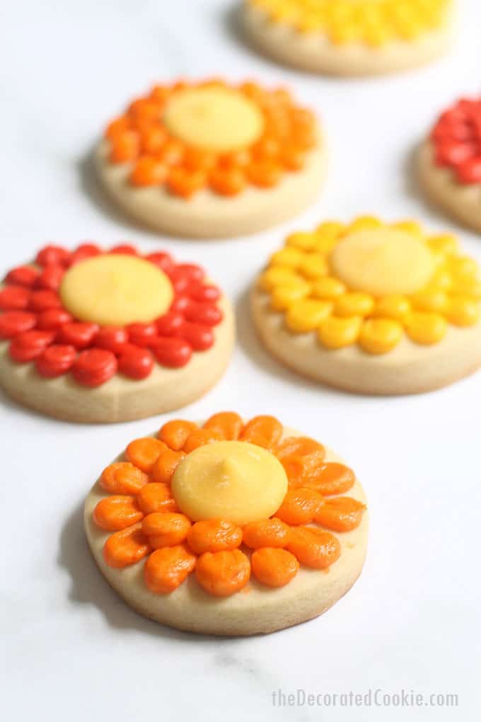 front view of piped flower cookies for fall