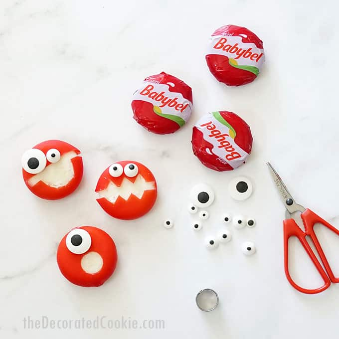how to make babybel cheese monsters with scissors
