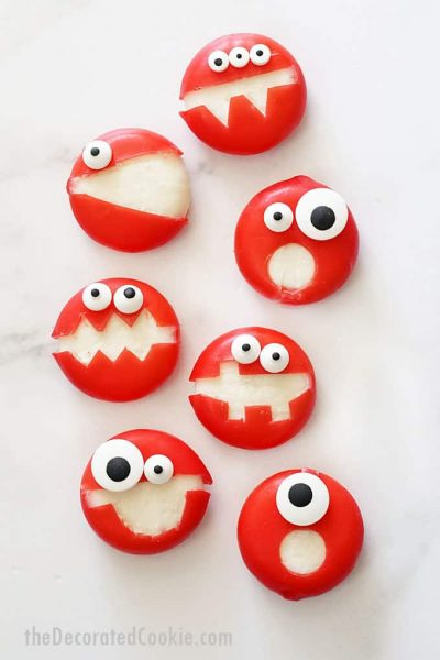 overhead image of babybel cheese monsters