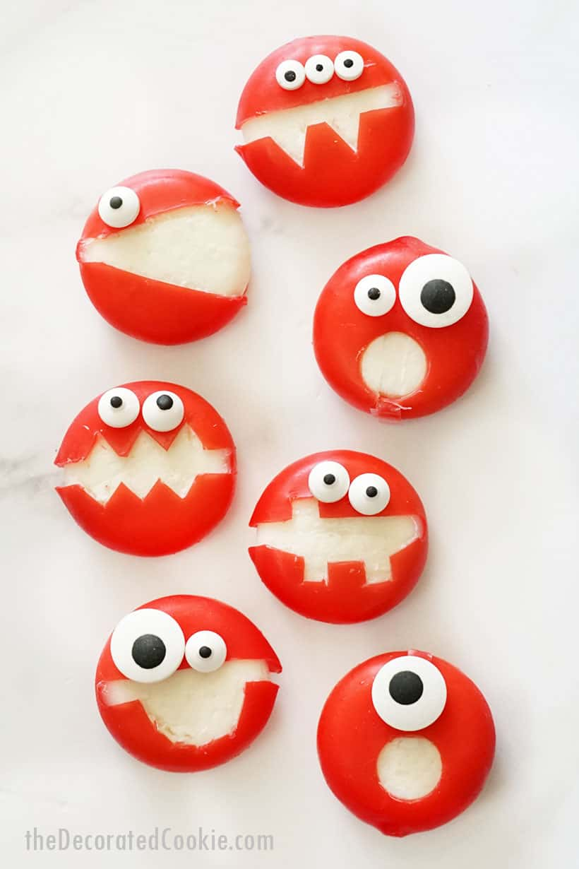 babybel cheese monsters for Halloween