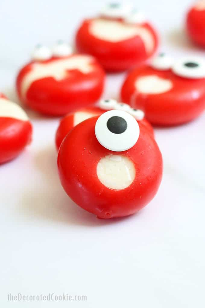 close-up image of babybel cheese monster -cyclops