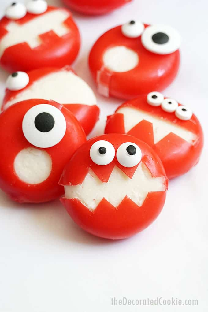 front view of babybel cheese monster