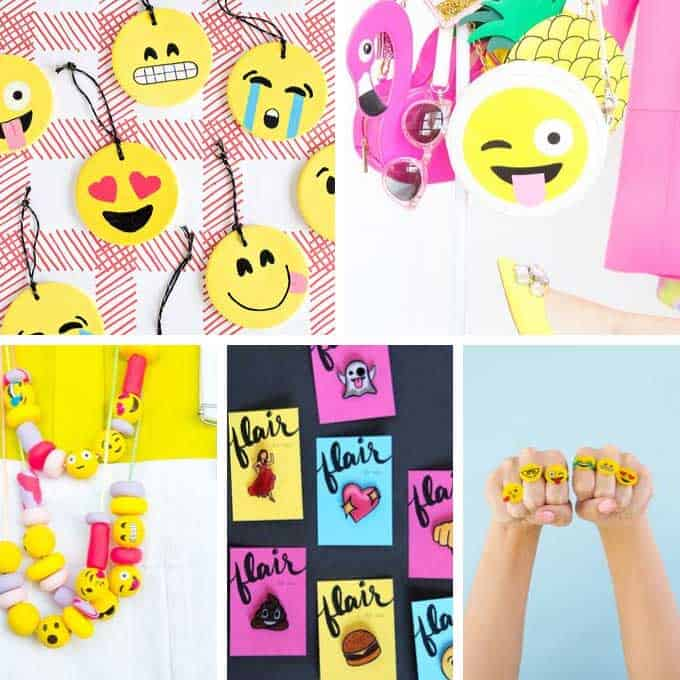 collage of emoji crafts