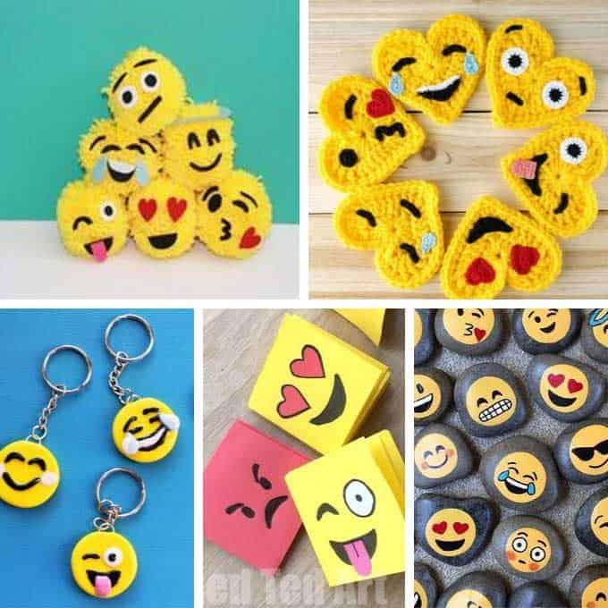 collage of emoji crafts
