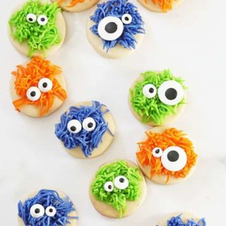 overhead image of fuzzy monster cookies