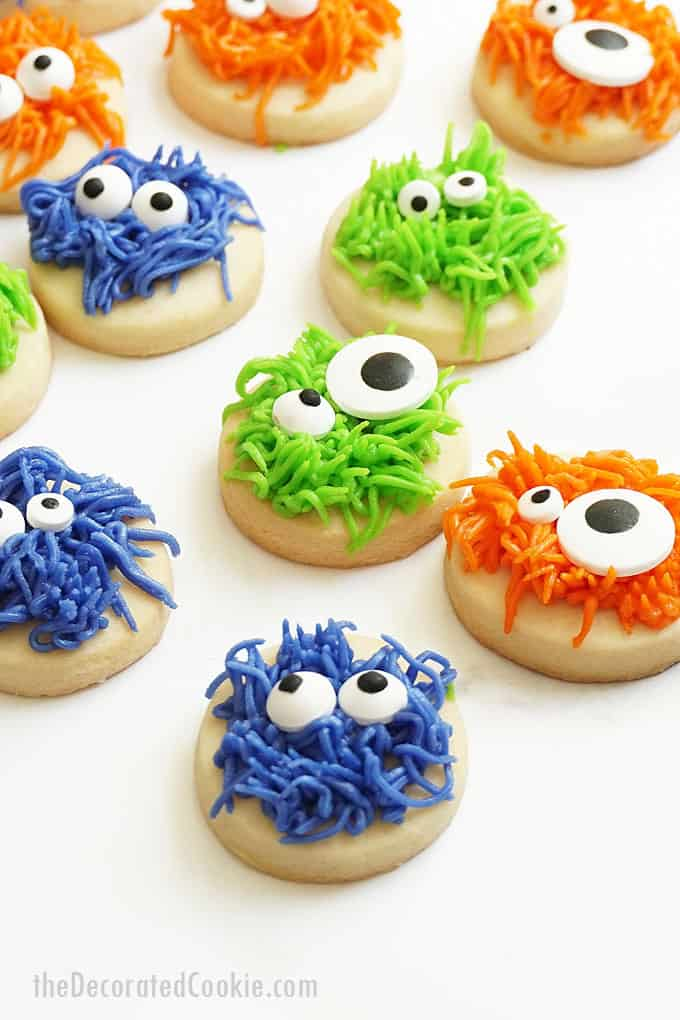 overhead image of fuzzy monster cookies