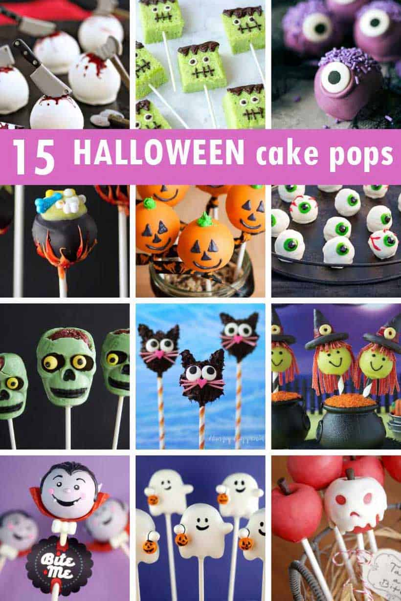 15 halloween cake pops collage