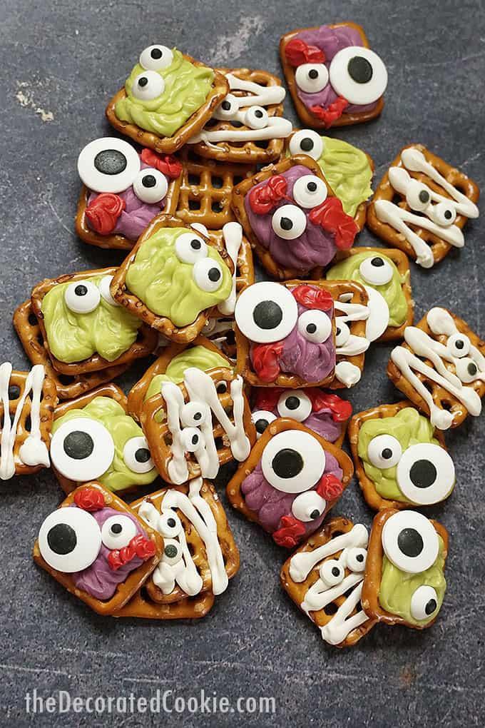 pile off Halloween pretzels