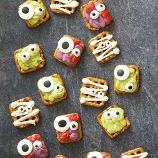 overhead view of Halloween pretzels