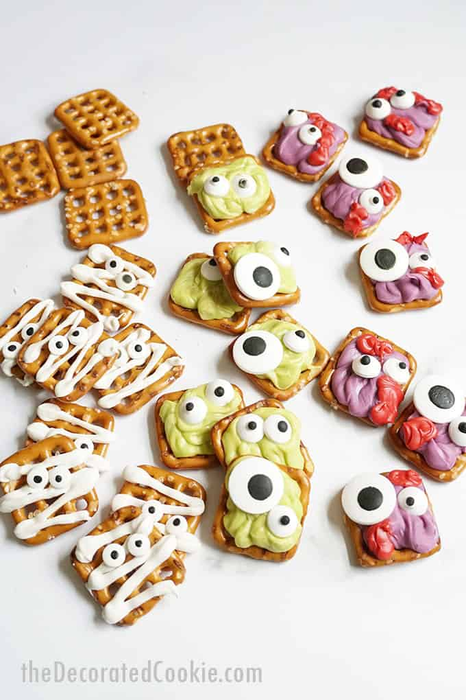 Halloween pretzels with white background