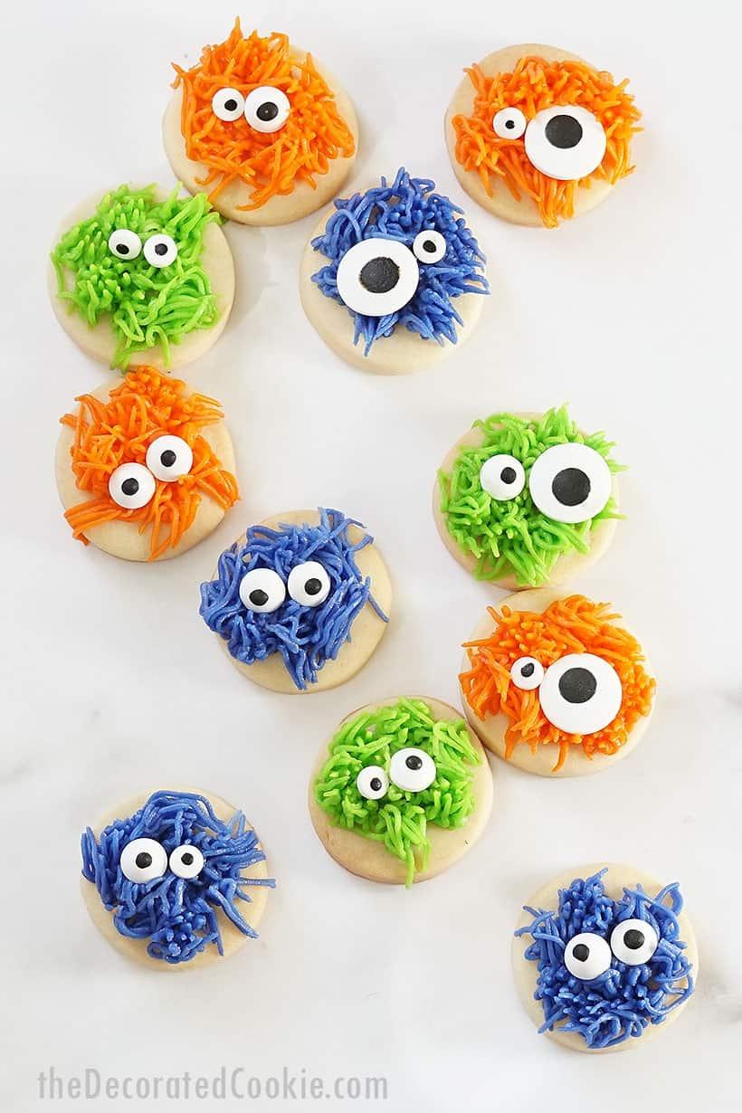 fuzzy monster Halloween cookies