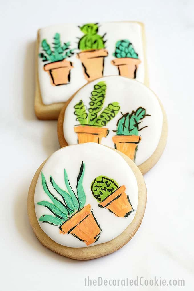 3 stacked painted succulent cookies