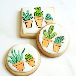 overhead image of painted succulent cookies
