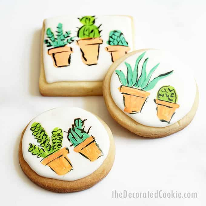 image of painted succulent cookies