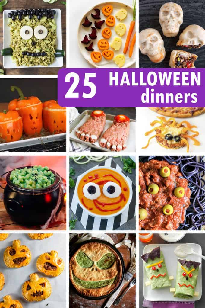 A roundup of 25 HALLOWEEN DINNER IDEAS -- A roundup of the BEST Halloween dinner recipes for kids, for fun, or for your spooky Halloween party.