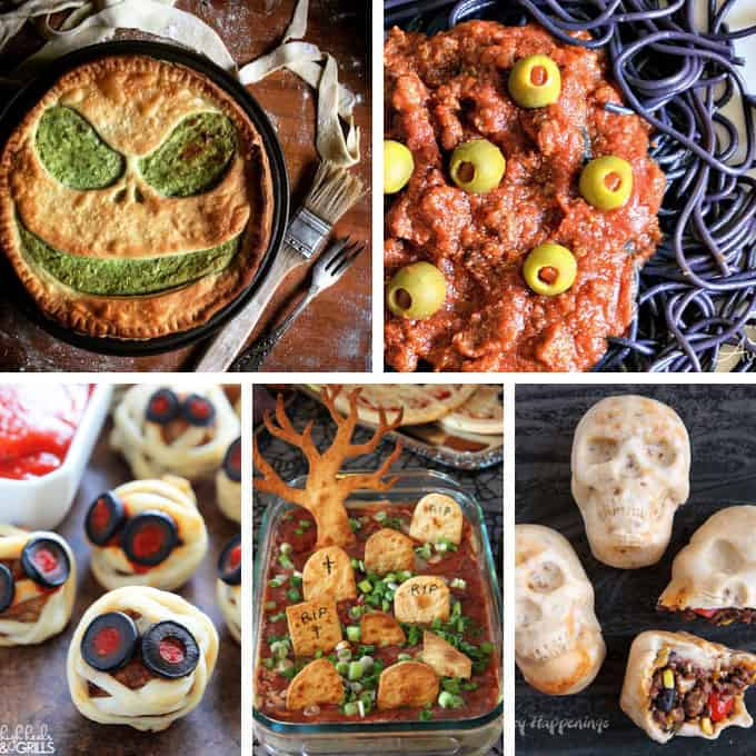 collage of halloween dinner ideas