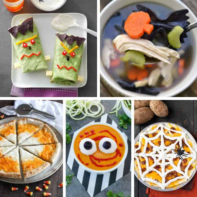 collage of Halloween dinner recipes