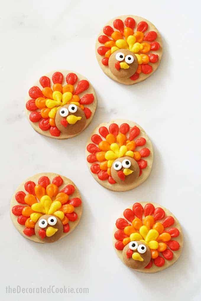 overhead image of turkey cookies